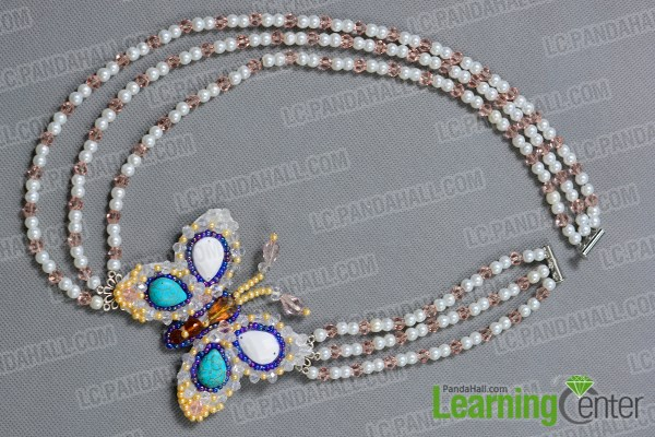 Finish the 3-strand beaded necklace