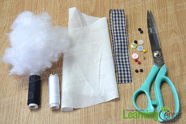 materials and tools for making a cute stuffed bunny