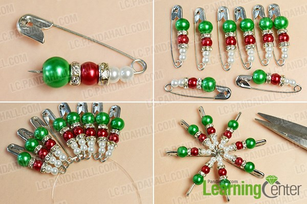 Make the first part of the pearl beads Christmas hanging ornament