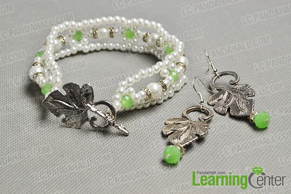 make the rest part of the pearl bracelet and leaf drop earrings