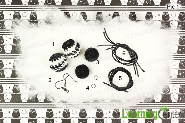material for making white and black pompom earrings