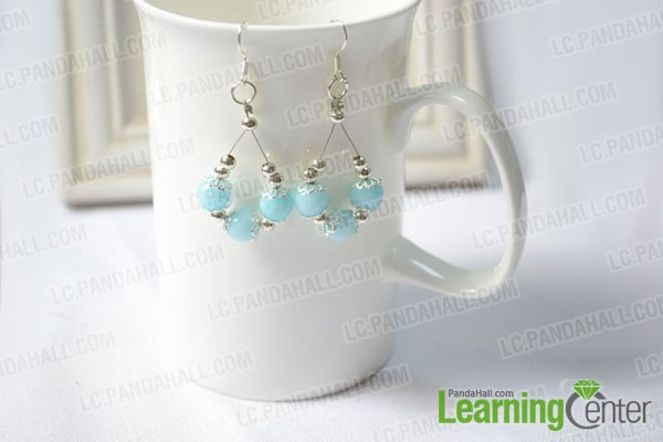 finished Elegant Drop Earring with Gemstone Beads