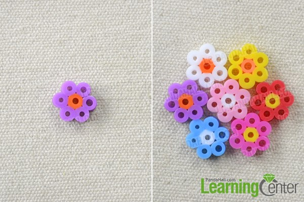 Make the hama bead flowers for the bracelet patterns