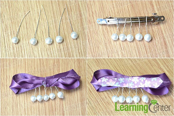 add charms and glue ribbons