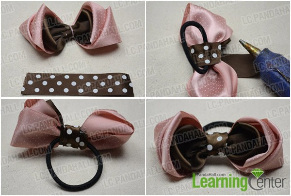 Pleasing Making A 3 Layered Bow Tie Hair Bow With Pink And Brown Ribbon Short Hairstyles Gunalazisus