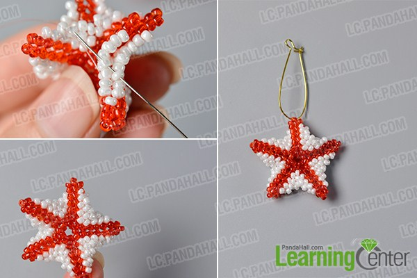 make the rest part of the red seed beaded stitch starfish earrings