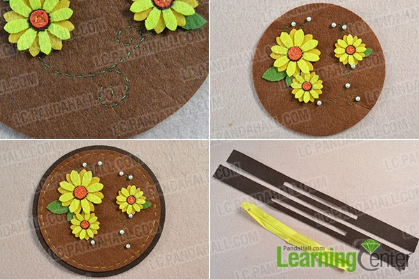 make the rest part of the sunflower change felt purse