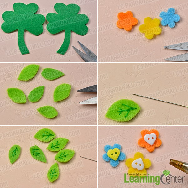 Make preparations for the leaf shaped brooch