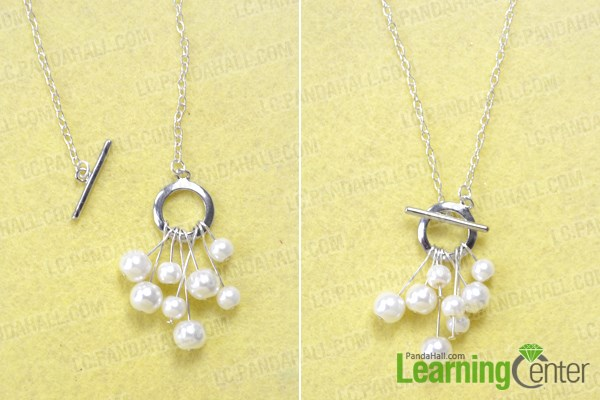 Finish making your own silver and pearl jewelry necklace