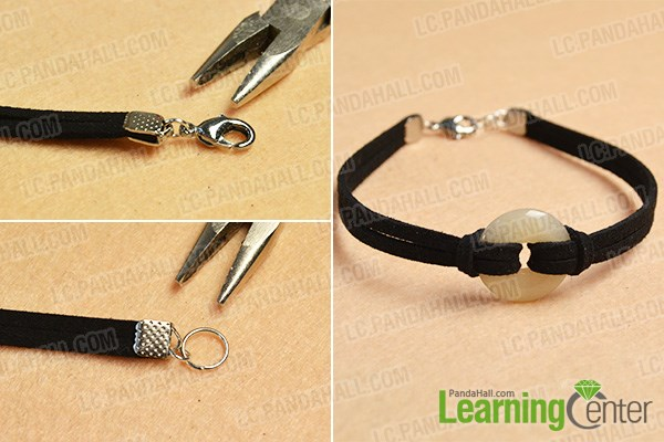 Finish the black suede cord bracelet