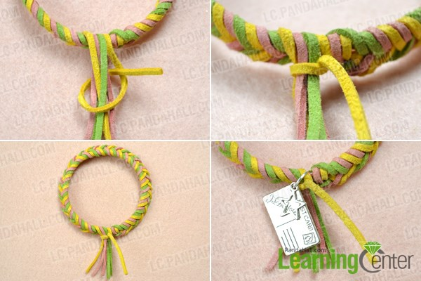 Finish making a single braided bracelet