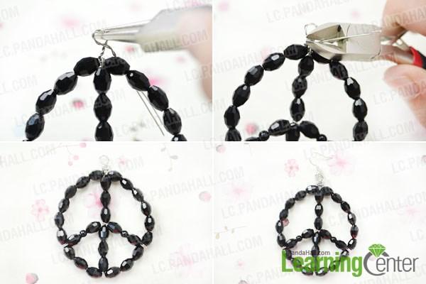 Finish making peace sign beaded hoop earrings