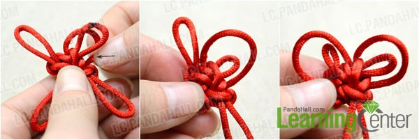 Pull the four folded loops in crown knot