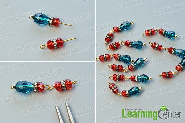 make the second part of the drop beads bib necklace