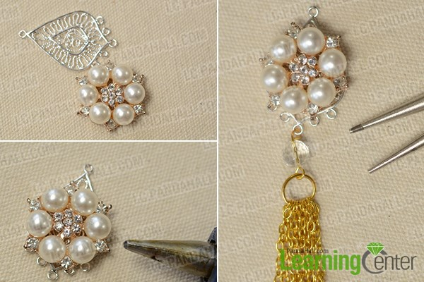 Connect the gold tassels with rhinestone and pearl pendent