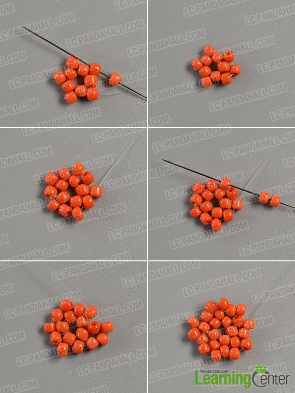 Add more orange seed beads onto it
