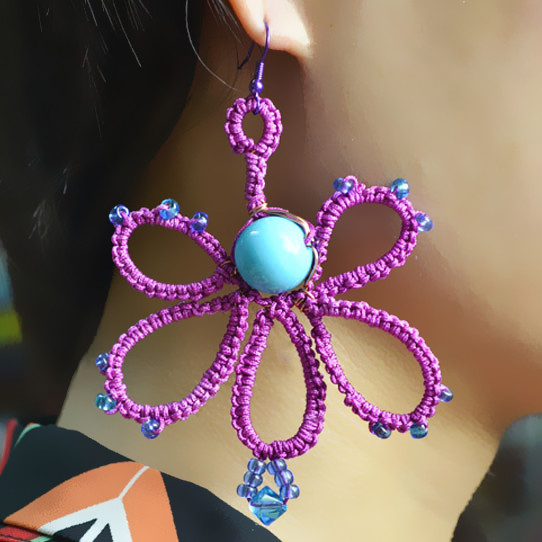 the final look of the needle tatting butterfly earrings