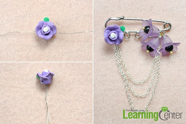 Finish Making Flower Brooch Pin