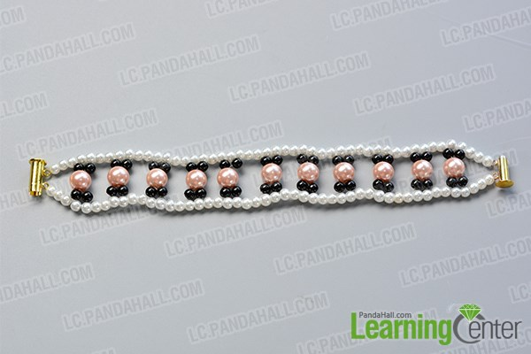Step 3: Continue to make more beaded patterns for this multi strand bracelet