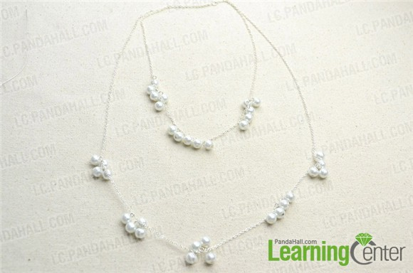 Finish the double strand long pearl necklace