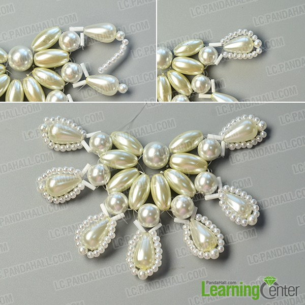 make the third part of the white pearl bead flower necklace
