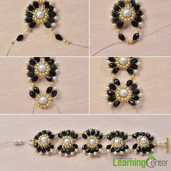 make the third part of the black and white beaded flower bracelet