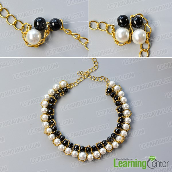 Finish the main beaded pattern of the choker necklace