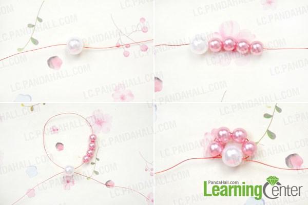 Make the pearl flower for the fresh flower hair comb