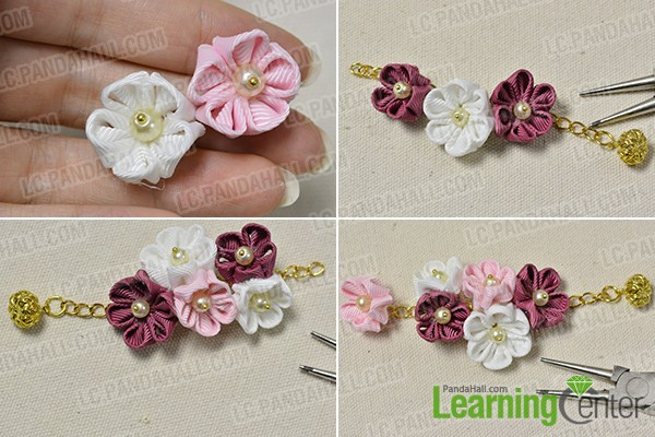 make the rest part of the ribbon floral drop earrings
