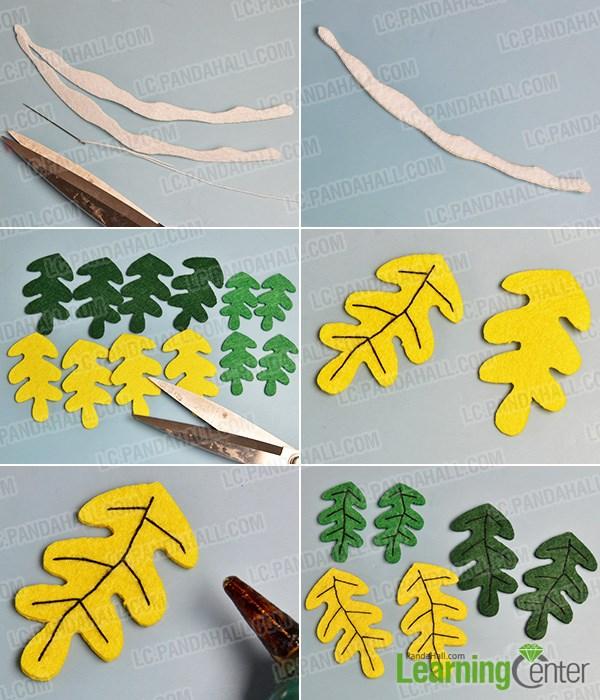 Make several felt leaves