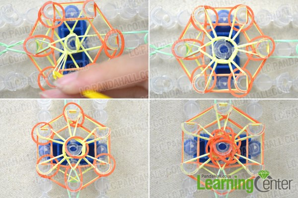 making sunflower rubber band rings with loom