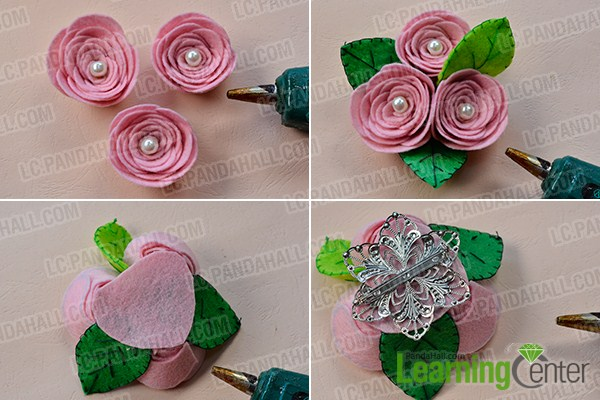 make the rest part of the pink felt rose flower brooch