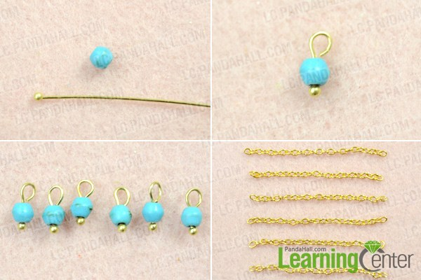 Make turquoise chain earrings