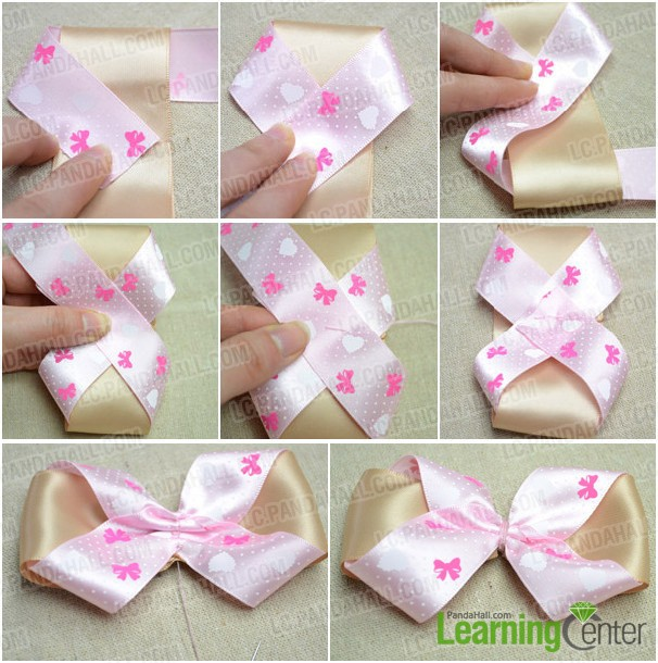 Step 2: Make hair bow with pink ribbon