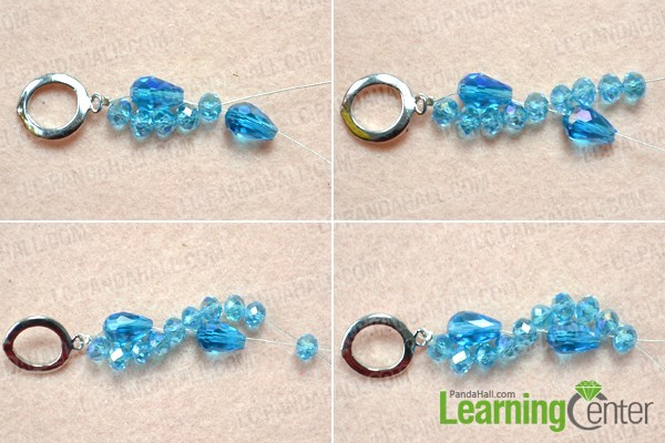Make the basic simple patterns for the crystal beaded bracelet