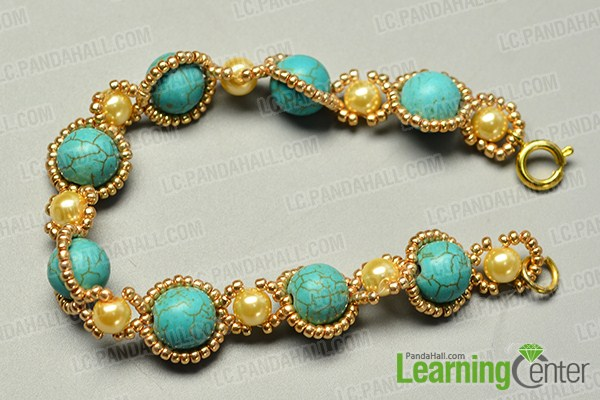 make the rest part of the turquoise bead flower bracelet
