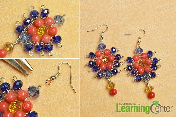 finish the glass and jade beads earrings