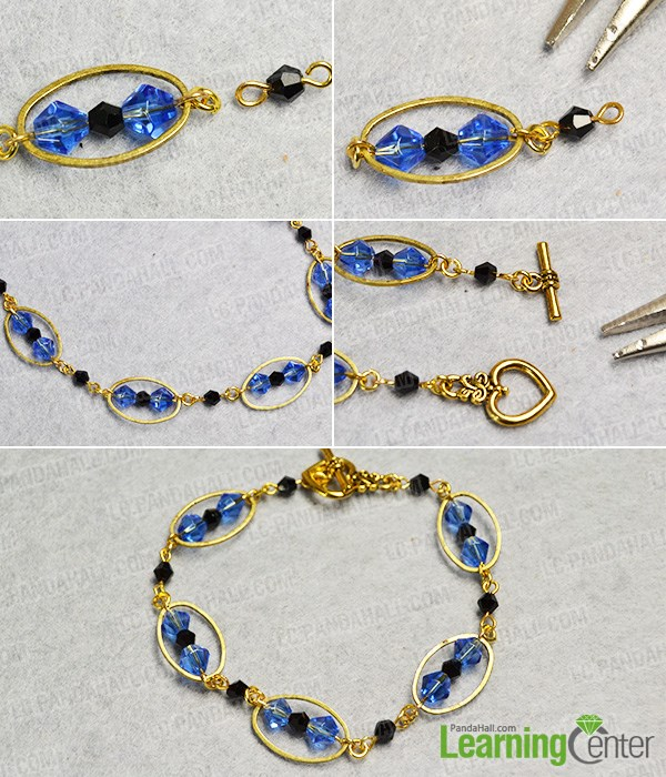 Finish the blue glass bead bracelet