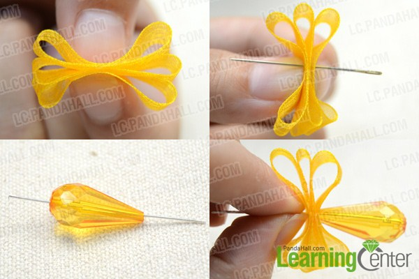Instruction on making orange drop earrings