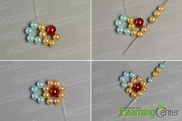 make the second part of the yellow pearl bead flower bracelet