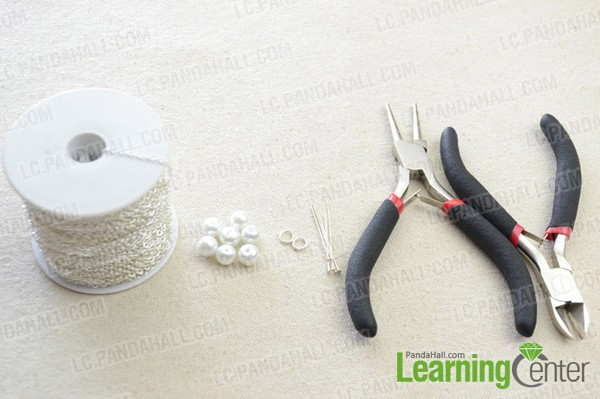 Materials for making a double strand long pearl necklace