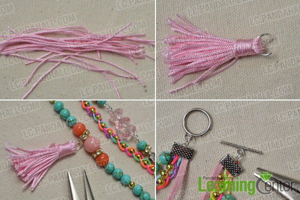 hang the nylon thread part to the middle of the bracelet.