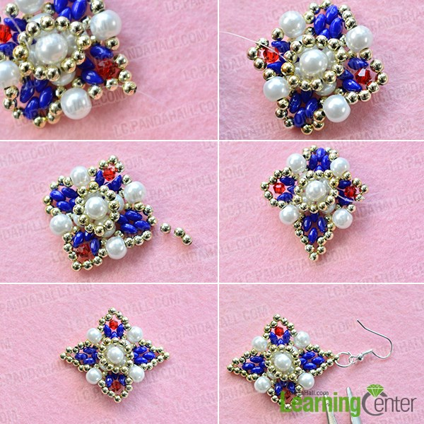 Step 5: Finish the beading square earrings
