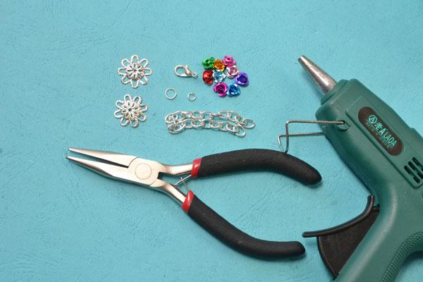 Materials needed for the flower bracelet: