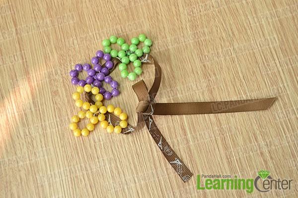 finished beaded pansy flower bracelet