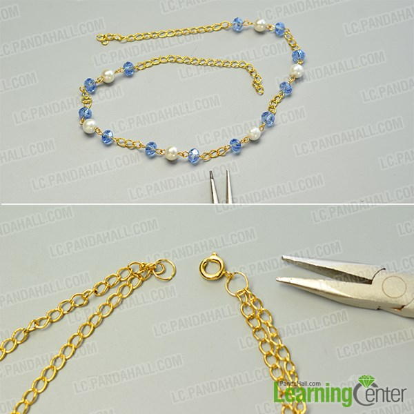 make the second part of the pretty handmade glass beads chain necklace