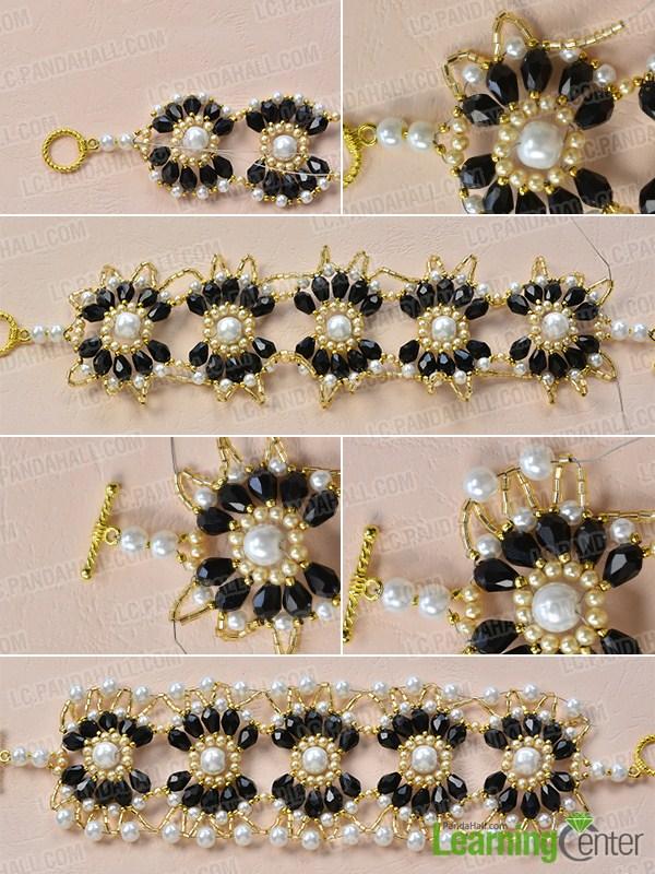 make the rest part of the black and white beaded flower bracelet