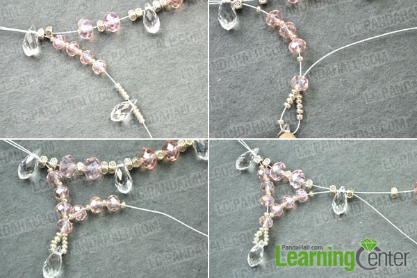 making the dangles for the crystal wedding necklace