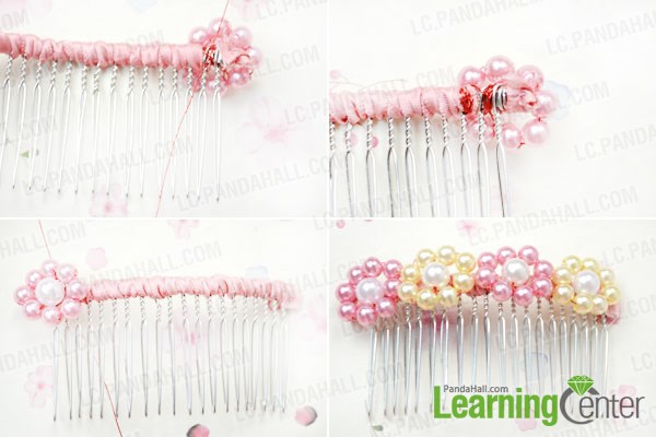 Attach pearl flowers to the hair comb