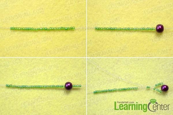 Make the main stem of the beautiful beaded grape earrings